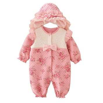 Cute Newborn Baby Girl Clothes New Style Girls Princess Bow/Flowers Romper & Hat 2pcs Long Sleeve Baby Clothing Set Outfits