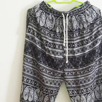 Pants with side pockets black white tribal pants/ Jumper pants/ Rayon pants Adult trousers /Beach pants