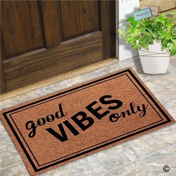 Autumn Fall welcome door mat doormat Funny  Entrance Floor Mat Good Vibes Only Creative Designed  Indoor Outdoor Decorative  Non-woven Fabric AT_76_7