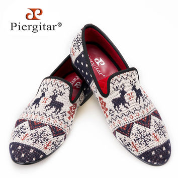summer style Men Knitted fabrics smoking slippers with cartoon geometric patterns men casual Loafers party men's flats