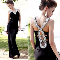 [grhmf2600051]Black Rhinestone Dress