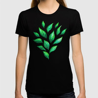 Dark Abstract Green Leaves T-shirt by borianagiormova