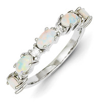 Sterling Silver Opal & CZ Ring