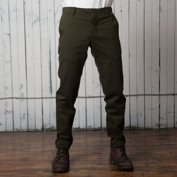 The Slim Casual Trouser   Forest Green Twill