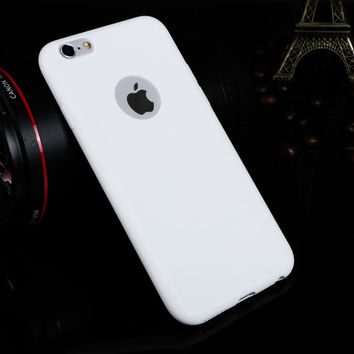 Ultra Thin Candy Colorful Soft Texture TPU Silicon Apple Logo Window White Back Cover Phone Case for iPhone 6 6s 4.7 inch