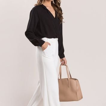 Julia Black Surplice Collar Blouse