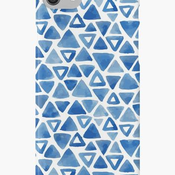 'Blue triangles pattern' iPhone Case/Skin by Foxeye Daisy
