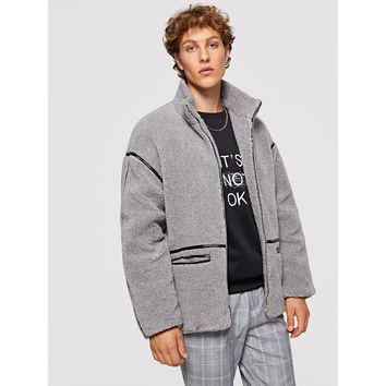 Men Zip Up Faux Fur Pocket Coat