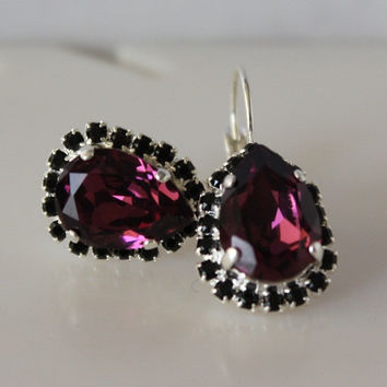 Amethyst Earrings Crystal Cushion Cut Halo Rhinestone Leverback Earrings Purple Earrings Black Halo Bridesmaid Earrings