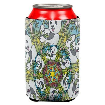 LMFCY8 Mandala Trippy Stained Glass Panda All Over Can Cooler