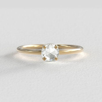 Rose Cut Moissanite Engagement Ring set in Recycled Rose Gold - Yellow Gold - or White Gold- Minimal Band - 5mm 0.50 Carat Center Stone