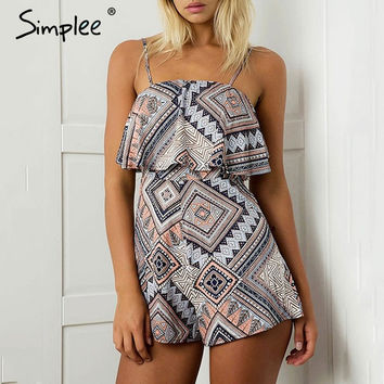 Simplee Sexy floral print jumpsuits romper women Sleeveless streetwear overalls leotard Summer beach backless playsuit