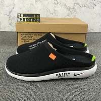 Nike Off-White Hollow Woman Men Fashion Sandals Slipper Shoes