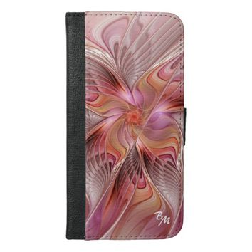 Abstract Butterfly Colorful Fractal Art Monogram iPhone 6/6s Plus Wallet Case