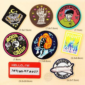 MOON CHILD FIGHT Patch Badge Patches Embroidered Cute Badges Hippie Iron On Kids Cartoon Patches For Clothes Stickers
