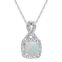 Created Opal and Diamond Pendant Necklace in Sterling Silver