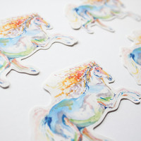 4 Beautiful Rainbow Horse illustrated glossy vinyl stickers made from my original watercolour art
