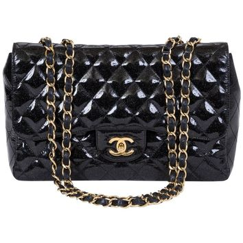 Chanel Black Sparkle Jumbo Single Flap
