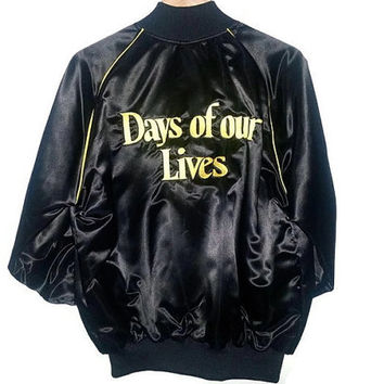 Vintage Days Of Our Lives on stage CREW Jacket Black Satin RARE TV Show Soap Opera Size Extra Large
