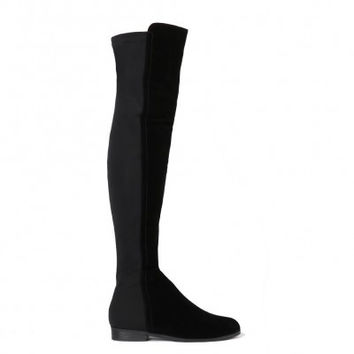 Faux Suede Over Knee Boots Black
