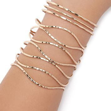 Dimpled Caged Cuff Set