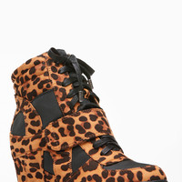 Bamboo Leopard Print Wedge Sneakers