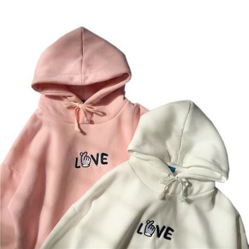 Korean Style Autumn Winter All-match Long Sleeve Hooded Letters Embroidered Sweatshirts Harajuku Women Cashmere Kawaii Hoody