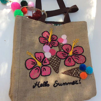 Extra large burlap tote bag, recycled, handmade, hand embroidered, beach bag,  of a kind, shoppers bag