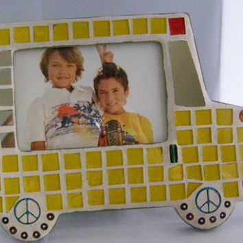 Yellow Mosaic Bus Frame, School Photo Frame, Bus frame, Kids Frame, Child's Photo, School Picture