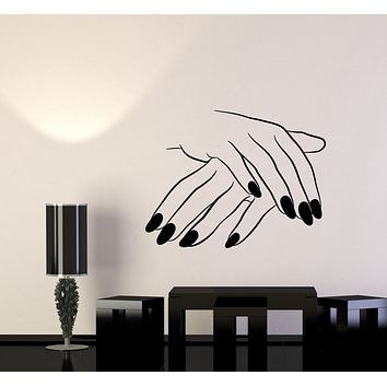 Vinyl Wall Decal Nails Beauty Salon Girl Hand Manicure Stickers Mural (g343)