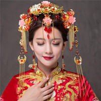 Gold Color Chinese Style Vintage Wedding Hair Jewelry Accessories Tasseles Phoenix Hair Ornaments Jewellery Headband Hair Sticks