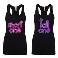 Short One and Tall One Girl BFFS Jersey Racerback Tank Tops