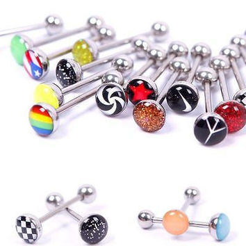 Metal Tongue Rings Steel Bars Barbells Funny Nasty Wording Logo Lot of 30 HUUS
