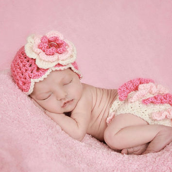 Newborn Baby Girl Hat and Diaper Cover, Baby Girl Crochet Set, Newborn Crochet Set, Photography Prop, Cream, Pastel Pink and Hot Pink