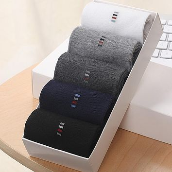 New Spring Autumn Winter Warm Business Casual High Density Men Cotton Socks Quality 5 Colors Large Size Middle Long Durable Sock