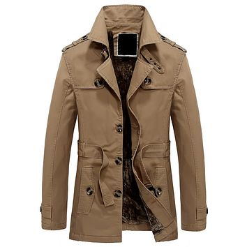 England Style Cool Military Trench For Men XXXL Big and Tall Male Winter Jacket Coats By Air Men's Khaki Trench Coat China S2706