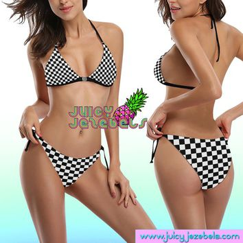 CHESS PLAYER Ibiza Style Rave Outfit Rave Bra Posing Bikini Top Hippie Clothes Sexy Bikini Rave Wear Cheeky Bikini Two Piece Swimsuit