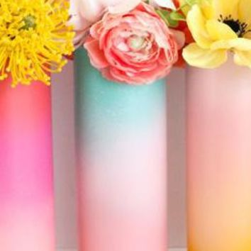 Ombre Flower Vase - Turquoise to Pink