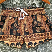 Elephant Shorts comfy fabric Printed Beach wear Boho Summer Hippie Clothing Aztec Ethnic Bohemian Ikat short pants Men wome Cloth in Orange