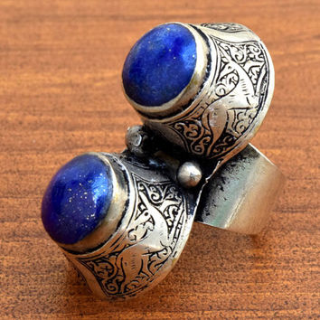 Afghan Tribal Ring,Antique Kuchi Ring,Afghan Jewelry,Hippie,Lapis Stone Ring,Bohemian Ring,Carved Ethnic Ring,Gilt Silver,Gypsy Boho Ring