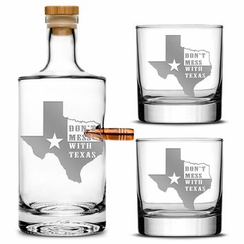 Premium .50 Cal BMG Bullet Bottle Gift Set, Jersey Whiskey Decanter, Don't Mess With Texas, 750mL