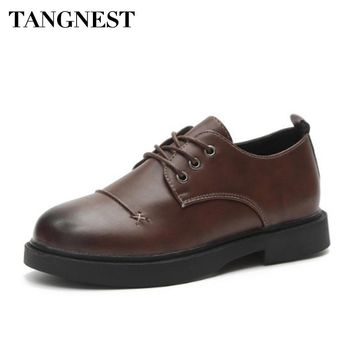 Tangnest Women Lace Up Oxford Shoes Spring Flat Platform Casual Women Shoes British Style Fashion Soft Women Flats XWD6502