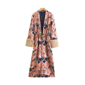 Floral pattern kimono long trench coat faux fur sleeve split pockets bow tie elegant vintage casual tops