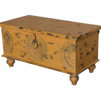 Distressed Yellow Medallion Wood Trunk From Wanderloot