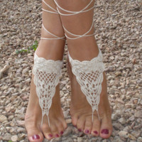 Barefoot Crochet Sandals - Soleless Sandles (Ivory) Perfect for Beach Weddings | Foot jewerly wear