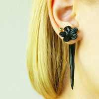 fake gauge plug two part earrings black flower polymer clay , handmade
