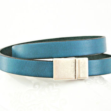 Dark teal leather bracelet double wrapped with magnetic clasp