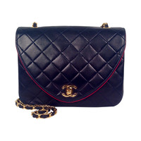 Vintage Chanel Navy Diamond and Vertical Quilted Lambskin Bag