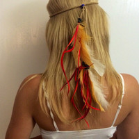 Feather headddress Feather hair comb,feather extension, feather clip, hippie hair, boho headband, boho accessory, extensions long, hair comb