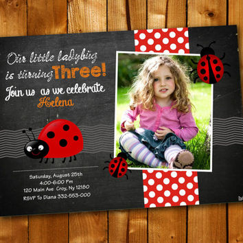 Ladybug Chalkboard Chevron, Birthday Invitation, Birthday Party for little boy and little girl
